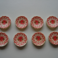 8 Scandi Style Buttons - Geometric - Red - Star