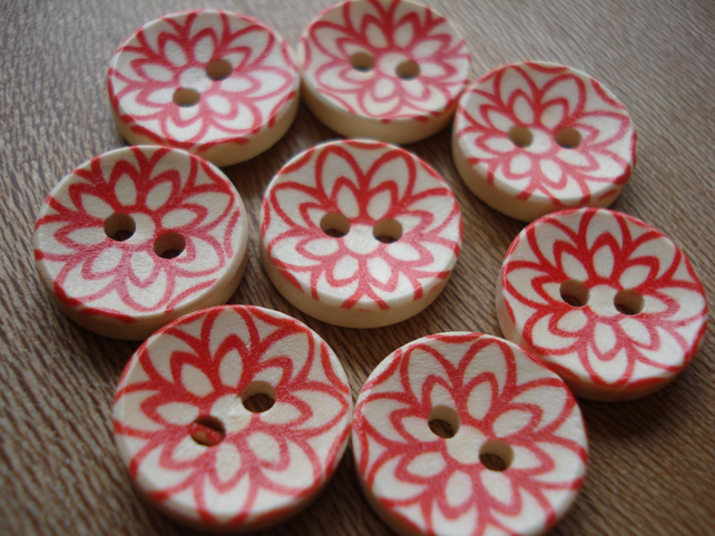 Buttons: 8 Scandi Style Buttons, Red Buttons, Geometric Buttons Wooden Buttons