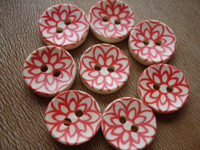 8 Scandi Style Buttons, Red Buttons, Geometric Buttons, Wooden Buttons