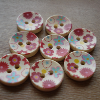 8 Colourful Buttons - Flowers