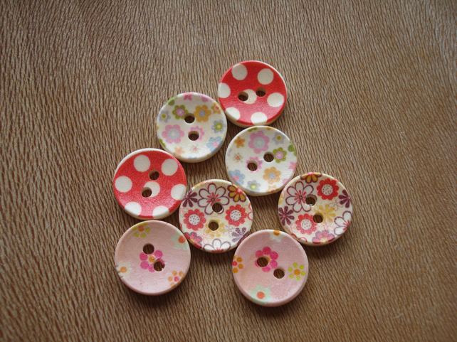 8 Colourful Buttons - Flowers - Dots