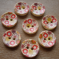 8 Retro Flower Buttons - Floral Buttons, Wooden Buttons, Round Buttons