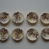 Oriental Flowers Buttons - Japan - Cherry Blossom - Floral