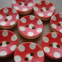 8 Red Buttons - Polka Dot, Round Buttons, Novelty Buttons, Wooden Buttons