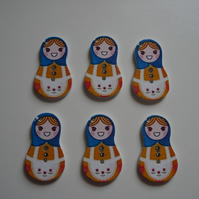 6 Russian Doll Buttons