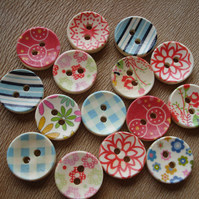 15 Wooden Buttons: Free Delivery - Scandi - Flowers - Stripes