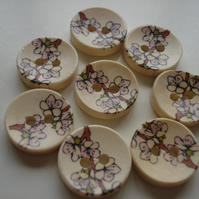 8 Oriental Flowers Buttons - Japan - Cherry Blossom - Floral