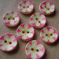 8 Round Buttons, Flower Buttons, Wooden Buttons, Floral Buttons, Pretty Buttons