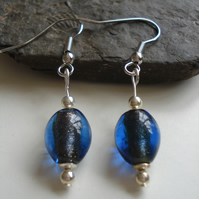 Blue Glass Earrings, Handmade Earrings