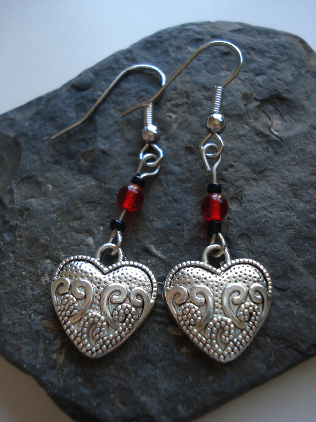 Heart Earrings, Handmade Jewellery