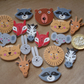 18 Animal Buttons, Wooden Buttons, Craft Buttons, Jungle, Safari, Wildlife