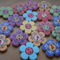 18 Wooden Flower Buttons, Craft Buttons