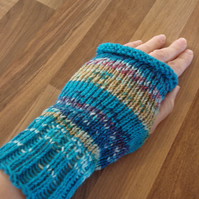 Fair Isle Effect Wristwarmers, Fingerless Mittens