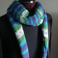 Knitted Wrap, Stripy Scarf, Shawl, Stole