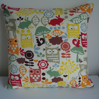 Cushion Cover, Woodland, Forest, Wildlife, Owl, Squirrel, Rabbit