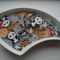 30 Animal Buttons, Wildlife, Elephant, Giraffe, Zebra, Panda, Lion, Rabbit, Fox