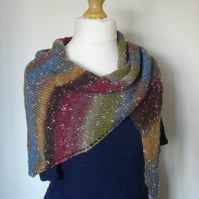 Knitted Scarf, Northern Lights Scarf, Cosy Wrap, Shawl, Stole, Triangle Wrap