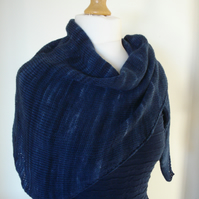 Midnight Blue Scarf, Wrap, Shawl, Knitted Scarf