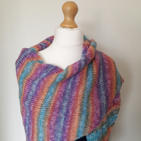 Sunset Scarf, Knitted Scarf, Wrap, Chunky Knit