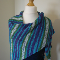 Hedgerow Scarf, Knitted Scarf, Stripy Scarf, Wrap