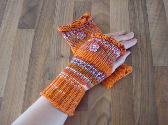 Fingerless Mittens, Fair Isle Effect