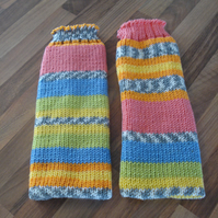 Legwarmers, Cheerful Fair Isle Effect, Chunky Knit