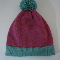 Bobble Hat, Pink Hat, Green Hat, Woolly Hat, Adult Hat