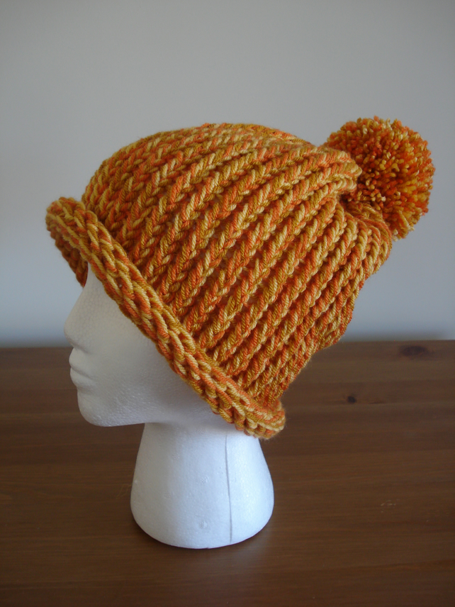 Chunky Orange Bobble Hat