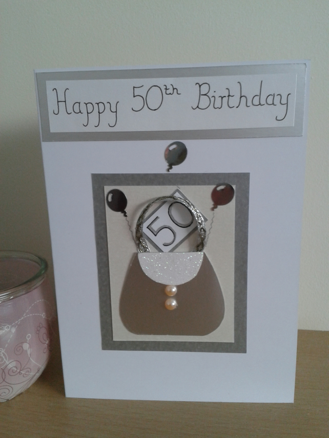 Handmade Handbag 50th Birthday Card