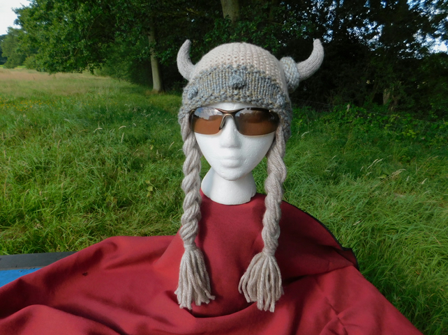 Hand knitted ladies viking hat with handmade plaits