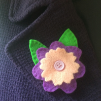 Felt brooch - violet and pink flower .