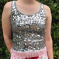 Sequin festival fringe crop vest top size small