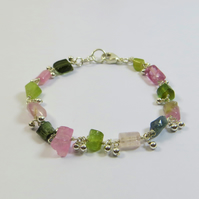 Raw Pink and Green Tourmaline Gemstone and Sterling Silver Bracelet