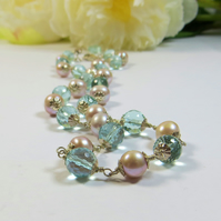 Aquamarine Gemstone and Rose Freshwater Pearl Necklace w Silver