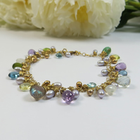 Gemstone Bracelet, 14kt Goldfill w Pearls, Turquoise, Aquamarine and More