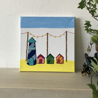 Hand Embroidered Canvas Beach Seaside Scene