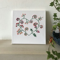 Hand embroidered floral love heart canvas