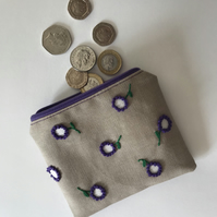Polka Dot Hand Embroidered Flower Coin Purse