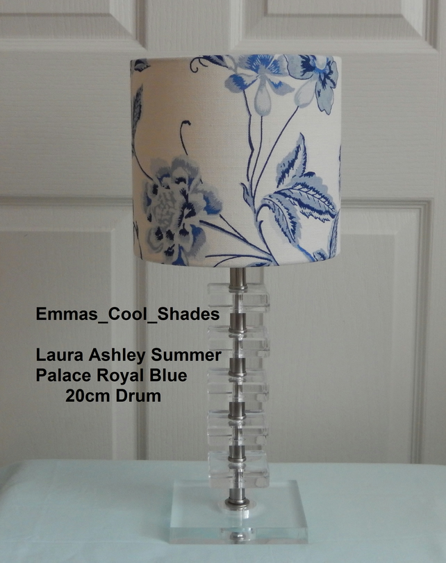 New Handmade Table Lampshade Laura Ashley Summer Palace Royal Blue 20cm Drum