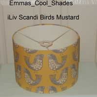 New Handmade Table Lampshade Scandinavian Birds Mustard - 30cm Drum