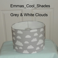 New Handmade Ceiling Pendant Lampshade Grey and White Clouds - 30cm Drum