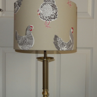 New Handmade Table Lampshade Clarke Rooster Sage - Drum 30cm
