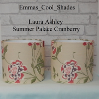2 Handmade Table Lampshades Laura Ashley Summer Palace Cranberry 20cm Drum