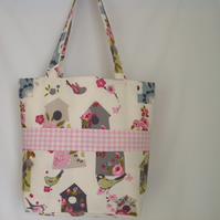 Bird House Tote Bag with External Front Pockets,  Shopping Bag, Beach Bag