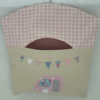 Pretty Peg Bag, Clothespin, Peg Storage, Laundry Bag, Caravan Appliqué, Bunting