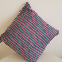 Pink and Blue Striped Cushion Set