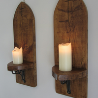 Pair of huge 80cm Gothic arch Church sconce's led candle holders