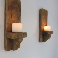 Pair of 45 cm reclaimed chunky wood rustic wall sconce's Led candle holders