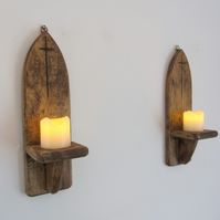 Pair of 30 cm tall Gothic arch wall sconce's led candle holders