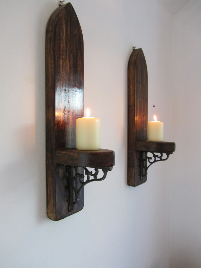 Pair of 60 cm Gothic church wall sconce's candle holders carved cross crucifix
